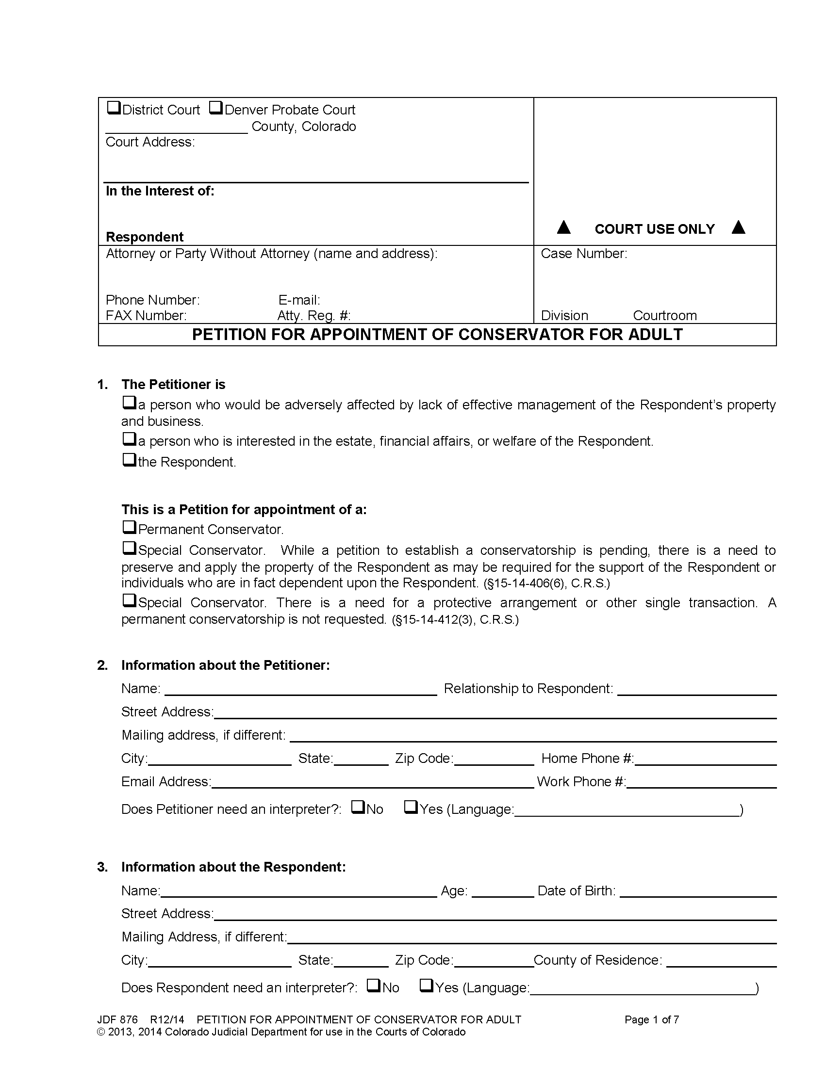 conservatorship - Petition for Appointment of a Conservator